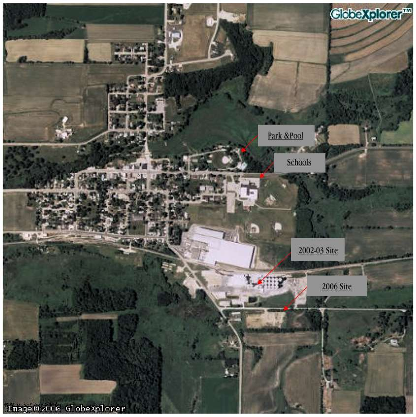 This 2005 satellite photograph of Cambria contains markers indicating the location of the proposed Didion ethanol plant and Cambria schools. The plant is to be located across the road from the southeast corner of the Village. Virtually no point in the Village is more than a three–quarters of a mile away from the plant. Most places in the Village, including the school, are much closer.