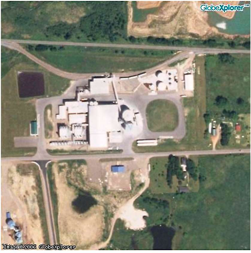 This 2005 satellite photograph of Ace Ethanol located near Stanley, Wisconsin.