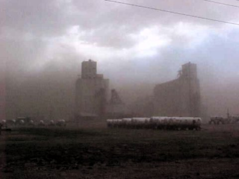Dust swirling around ADM grain elevator in Goodland, Kansas