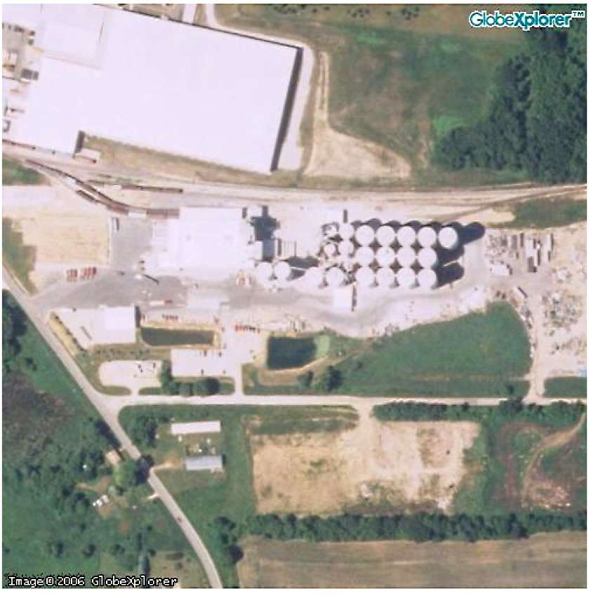 This 2005 satellite photograph of Didion Milling's existing facility in Cambria, Wisconsin.