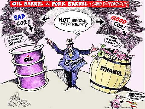Editorial cartoon shows politician standing between two barrels, one labeled Oil with caption Bad CO2, the other barrel labeled Ethanol with caption Good CO2
